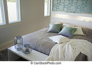 Bedroom - Contemporary small bedroom interior decor.