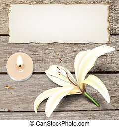 Realistic lily flower, candle and old paper on boards....