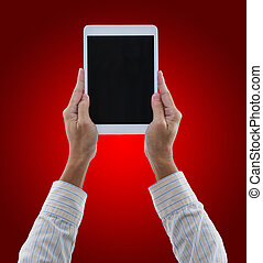 Man hands hold digital tablet isolated on red background with clipping path