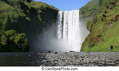 Skogafoss waterfall - Sliding video of skogafoss waterfall...
