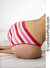 Sexy woman in panties. - Close up back view of woman in...