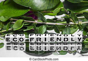 Eco friendly message with text and green leaves