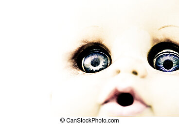 Scary Doll Features High Key Image - A close up of a spooky...