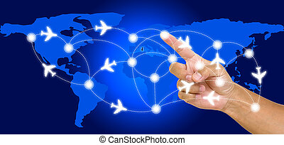 Hand point on airline route with world map background