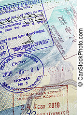 European Passport - International Travel - Visa Stamps in a...