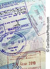 europeo, pasaporte, -, internacional, viaje