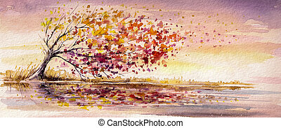 Tree - Autumn tree on a wind.Picture created with...