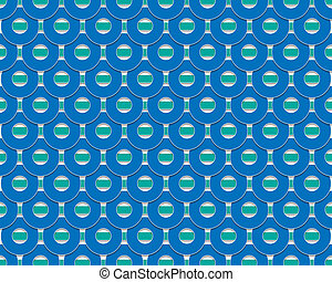 the blue wheel with green strips