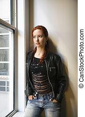 Portrait of pretty woman - Pretty redhead young woman...