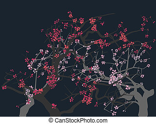 Abstract blossoming tree. - The abstract drawing of a...