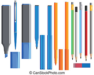 Set of different pens.