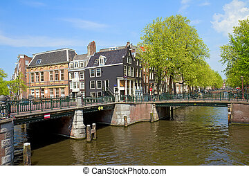 bridges of canal ring in Amsterdam, Holland