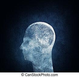 Unique Brain - Conceptual image of a head with a fingerprint...