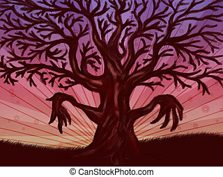 Big leafless tree - Abstract digital illustration of big...