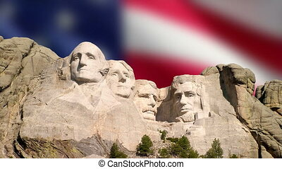 Mount Rushmore and American Flag - A blurred American flag...