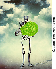 Humanoid with light bulb - Grunge illustration of metal...