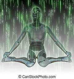 Martix humanoid - Abstract matrix green background with...