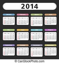 2014, カレンダー