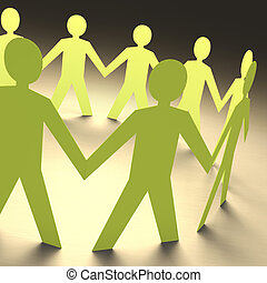 Teamwork - Cutout paper people forming a circle of union