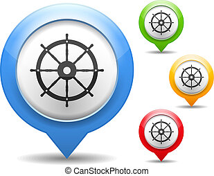 Ship Wheel Icon - Ship wheel icon, four colors, vector eps10...
