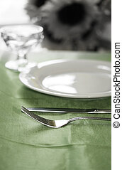 Banquette Table - An upscale banquette table set for dinner