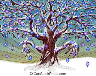 Winter tree - Illustration of season tree with colorful...
