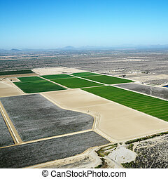 Aerial croplands. - Aerial view of agricultural cropland in...