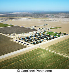 Farmland aerial. - Aerial view of agricultural farmland in...