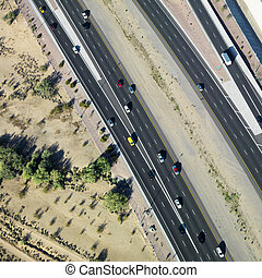 Aerial of highway - Aerial of Arizona highway with...