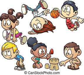 Cartoon kids playing - Cute cartoon kids playing Vector clip...