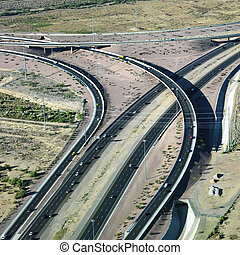 Highway and overpass. - Aerial of route 101 and route 51...