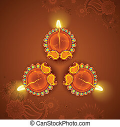 Decorated Diya for Diwali Holiday