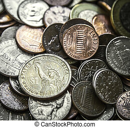 Pile of American Coins US Money One - Close up on a pile of...