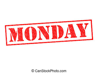 MONDAY Rubber Stamp over a white background