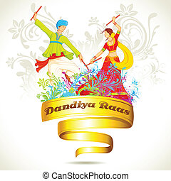 Couple playing Dandiya on Navratri - illustration of couple...