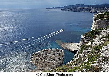 the white cliffs of Bonifacio in Corsica - the white cliffs...