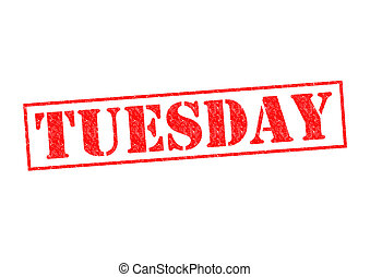 TUESDAY Rubber Stamp over a white background