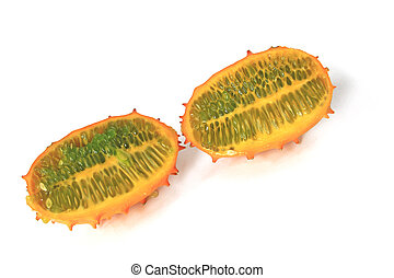 Horned melon Cucumis metuliferus in longitudinal section,...
