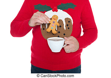 Christmas jumper and gingerbread man. - Man wearing a...