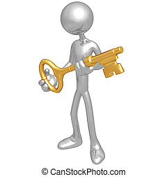 Holding The Golden Key - 3D Concept And Presentation Figure