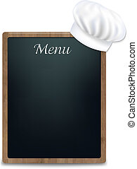 Black Chalk Board With Cook Cap With Gradient Mesh, Vector...
