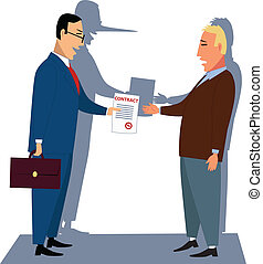 Unfair contract - A guileful businessman handling a contract...