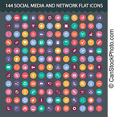 Social media and network flat icons - 144 Social media and...