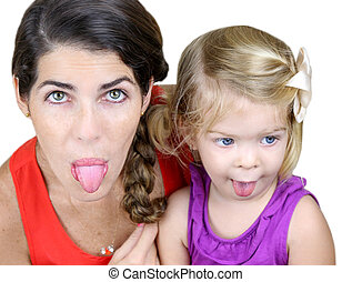 Tongues Out - Mother And Daughter Making Silly Faces