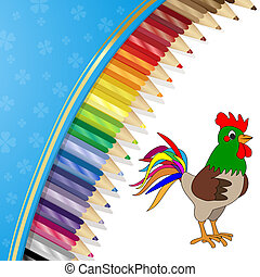 Colour pencils and rooster