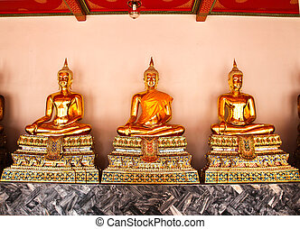 Buddha in Wat Pho Temple sequential nicely in Bangkok,...