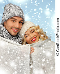 family couple under warm blanket - christmas, x-mas, winter,...