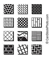 Various external building surfaces