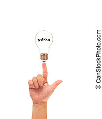 Light bulb in hand, idea concept
