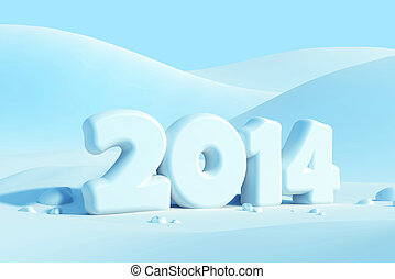 new year 2014, 3d render